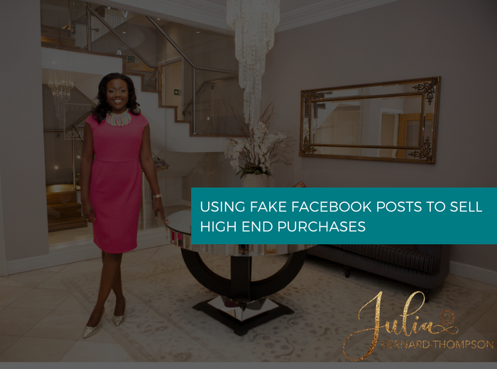 Using fake facebook posts to sell high-end packages